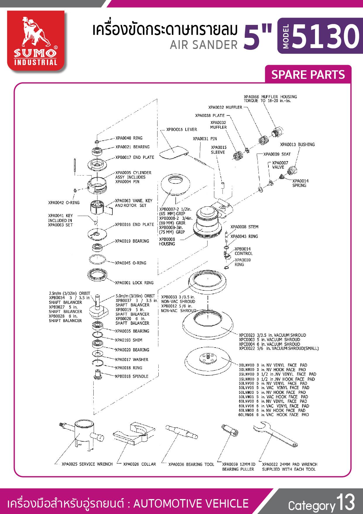 (143/176) เครื่องขัดกระดาษทรายลม 5 นิ้ว รุ่น 5130