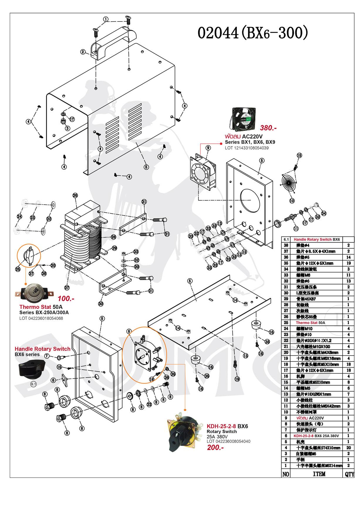 (124/239) เครื่องเชื่อมไฟฟ้า - Welding Machine BX6-200 Series
