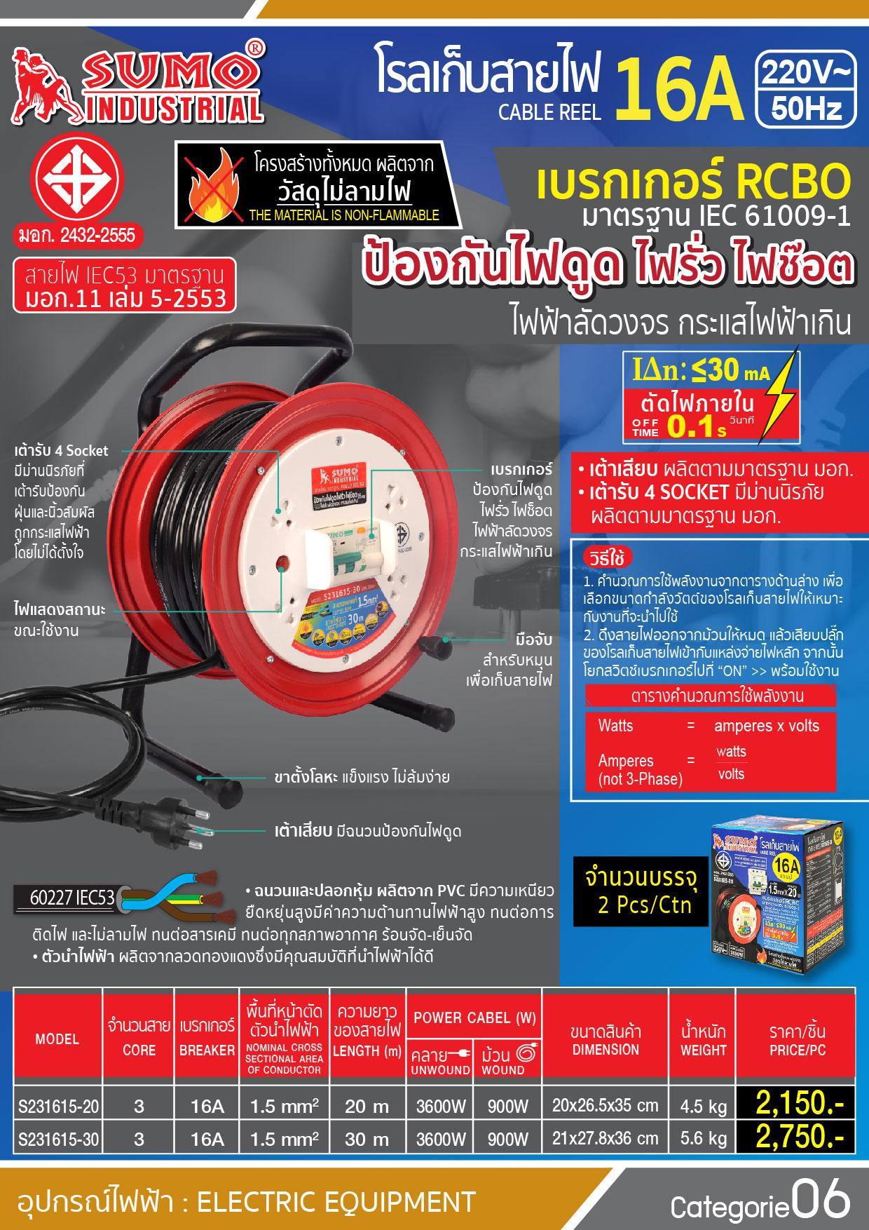 (5/196) โรลเก็บสายไฟ - Cable Reel