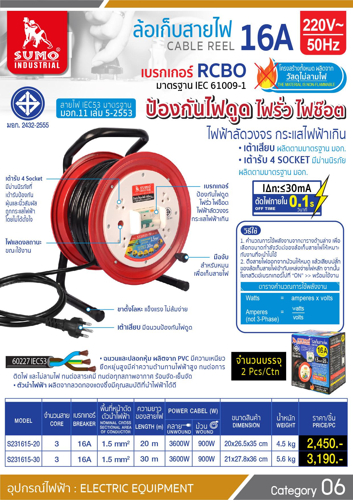 (2/3) โรลเก็บสายไฟ - Cable Reel