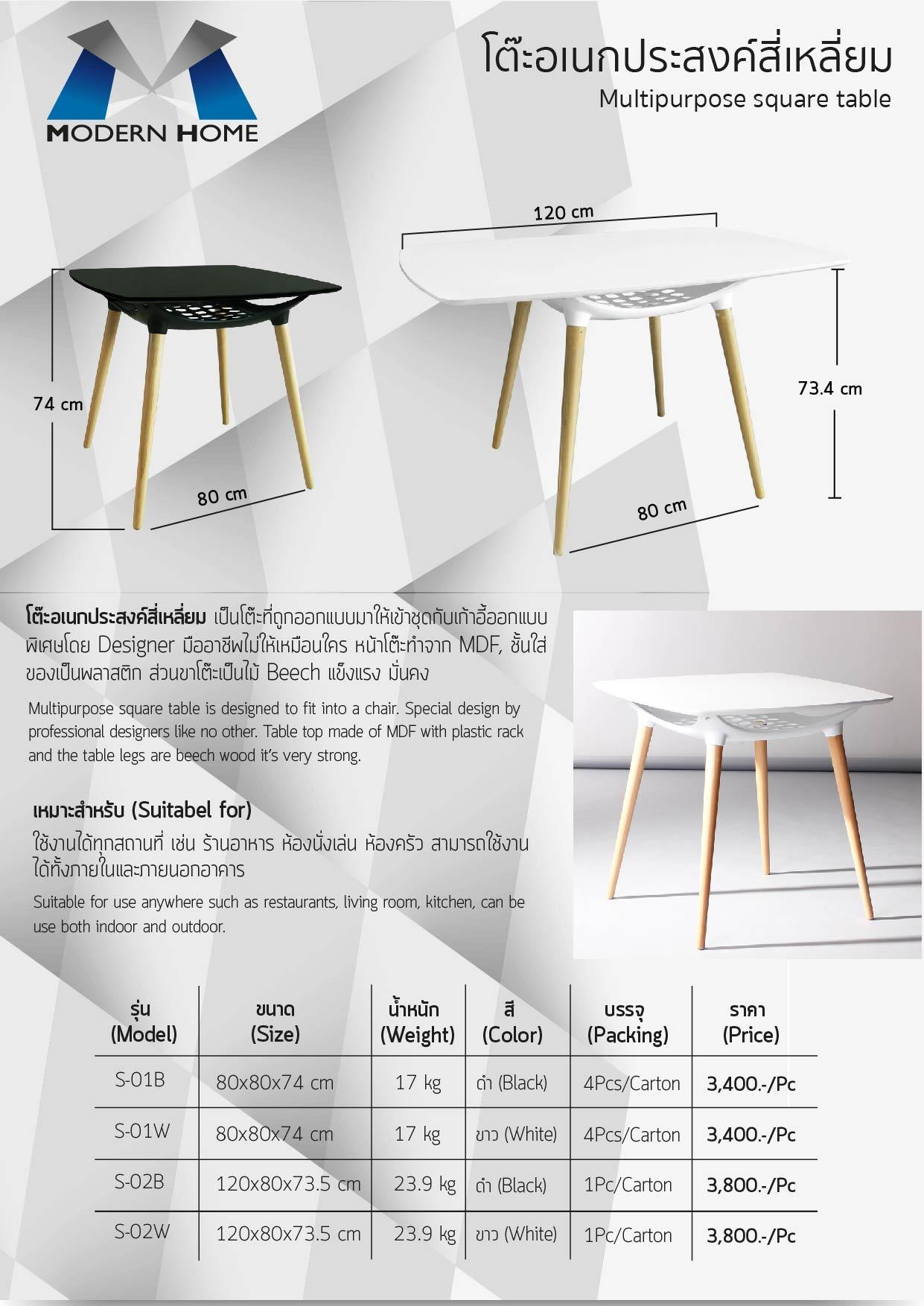 (33/67) โต๊ะอเนประสงค์สี่เหลี่ยม