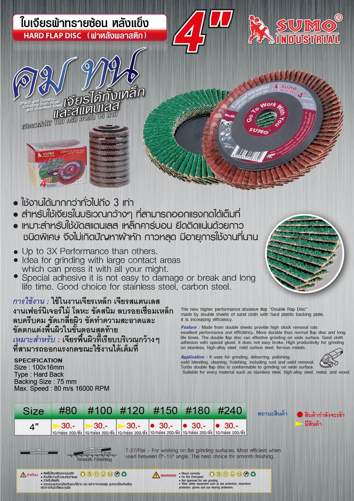 (56/164) ใบเจียรผ้าทรายซ้อน หลังแข็ง -  Hand flap disc