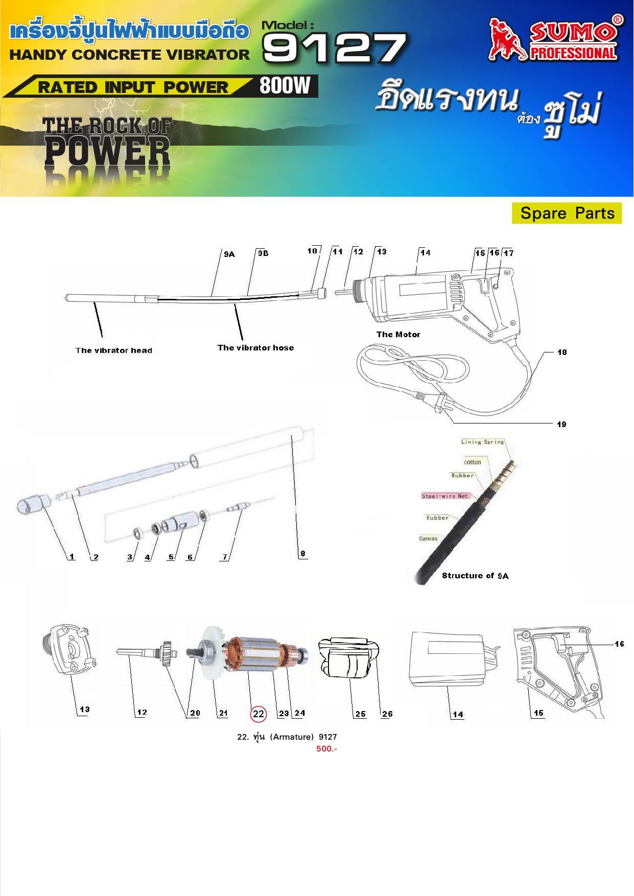 (107/313) เครื่องจี้ปูนไฟฟ้า 9127