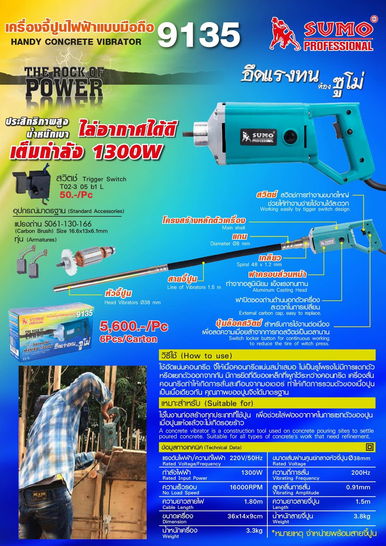 (5/10) เครื่องจี้ปูนไฟฟ้าแบบมือถือ 9135