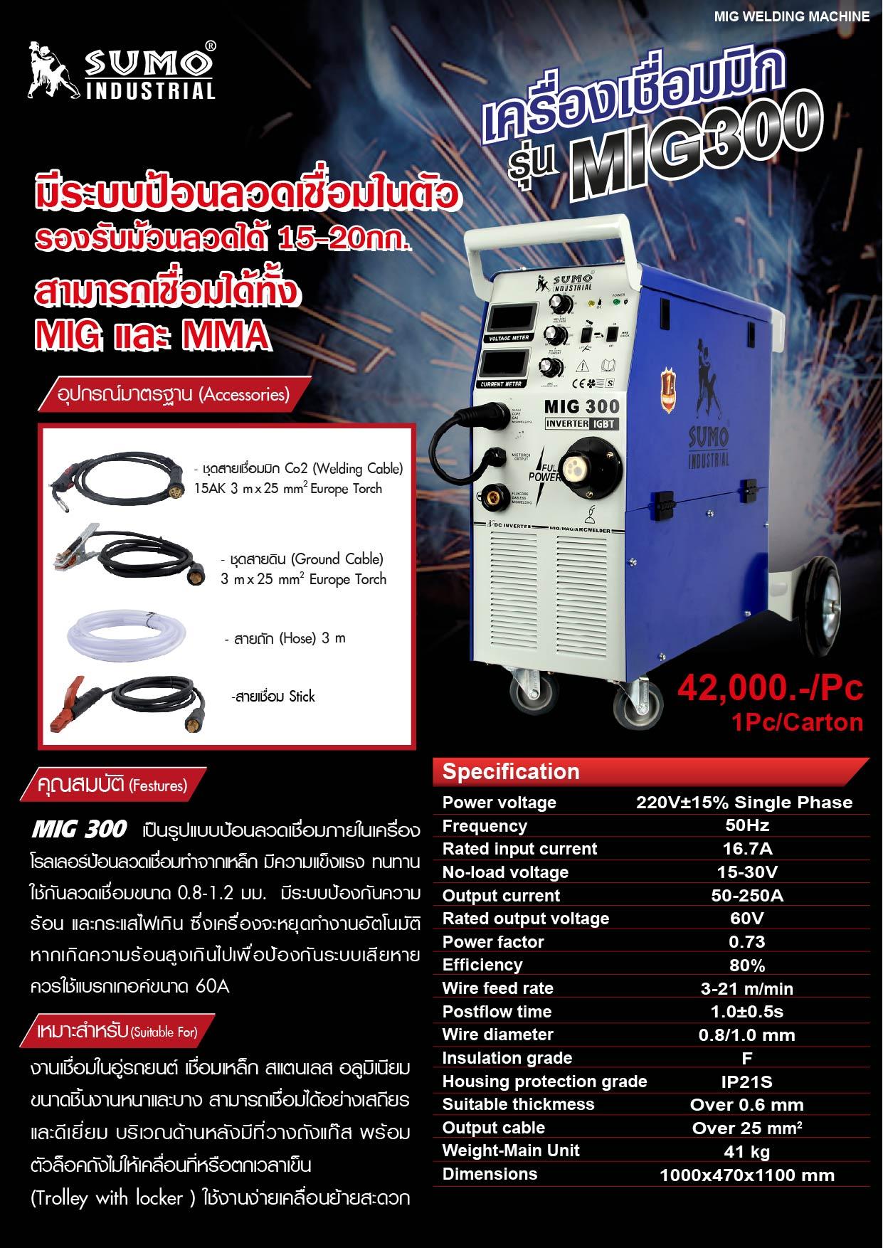 (8/18) เครื่องเชื่อม MIG300  Accessories Co2