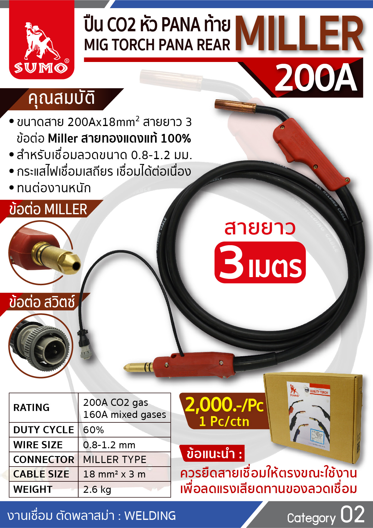 (97/277) ปืน CO2 PANA 200A Miller Tail