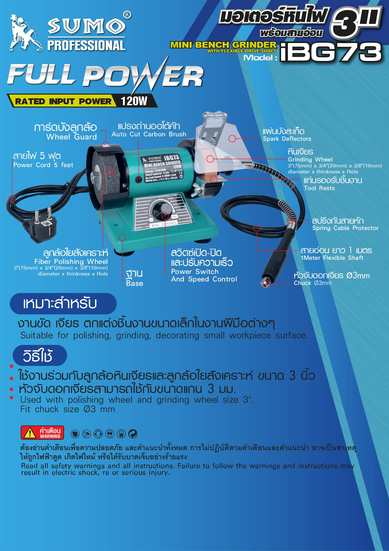 (48/305) มอเตอร์หินไฟ 3นิ้ว รุ่น iGB73