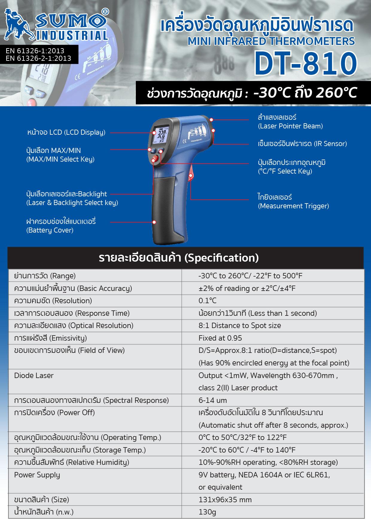 (8/20) เครื่องวัดอุณหภูมิอินฟราเรด รุ่น DT-810 - Mini Infrared Thermometer