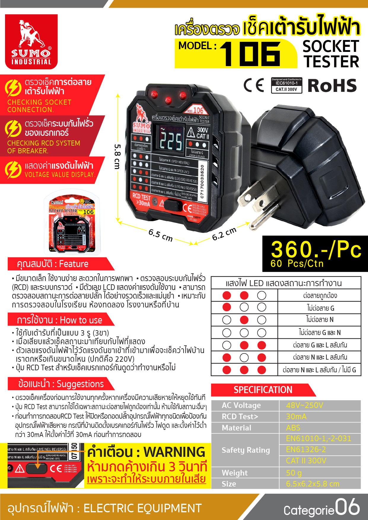 (1/17) เครื่องตรวจเช็คเต้ารับไฟฟ้า รุ่น 106