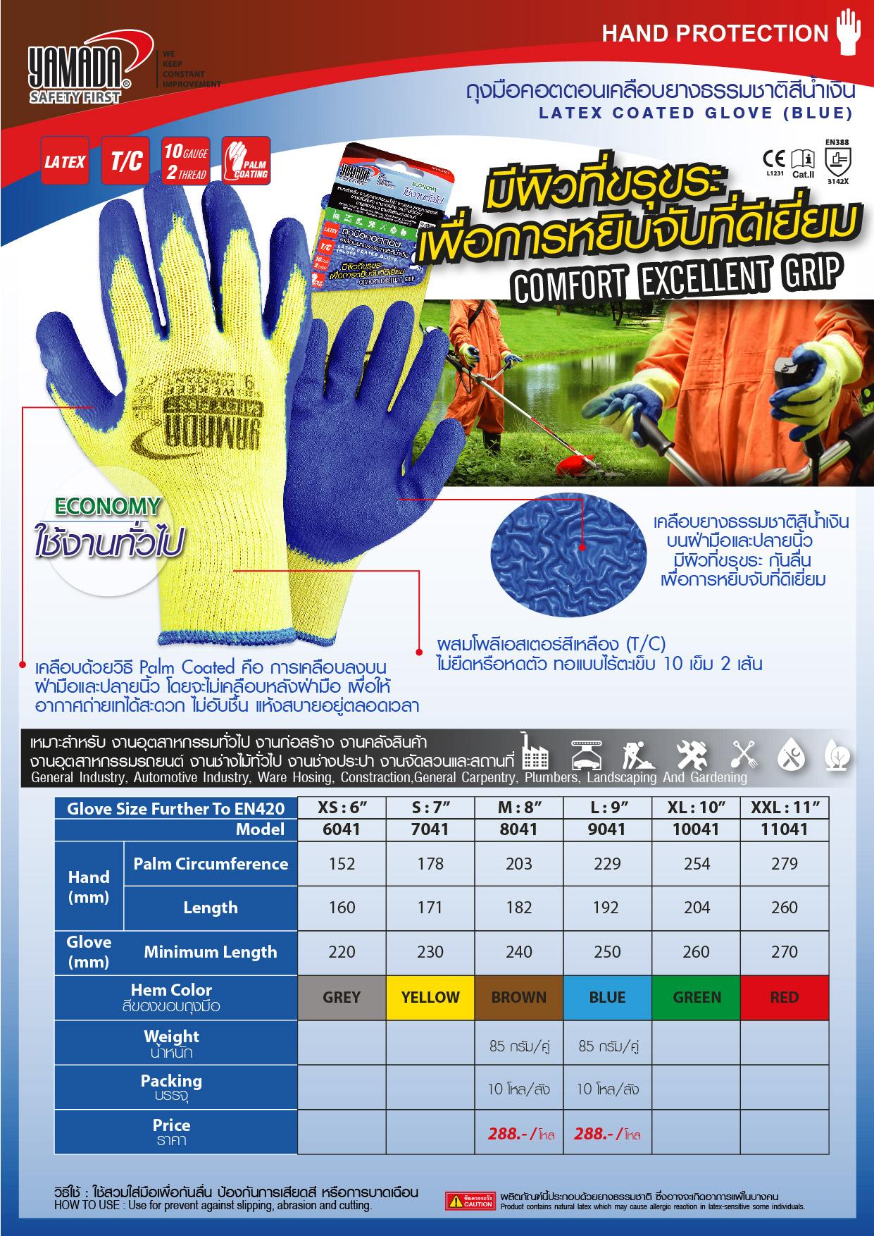 (128/268) ถุงมือคอตตอนเคลือบยางธรรมชาติสีน้ำเงิน