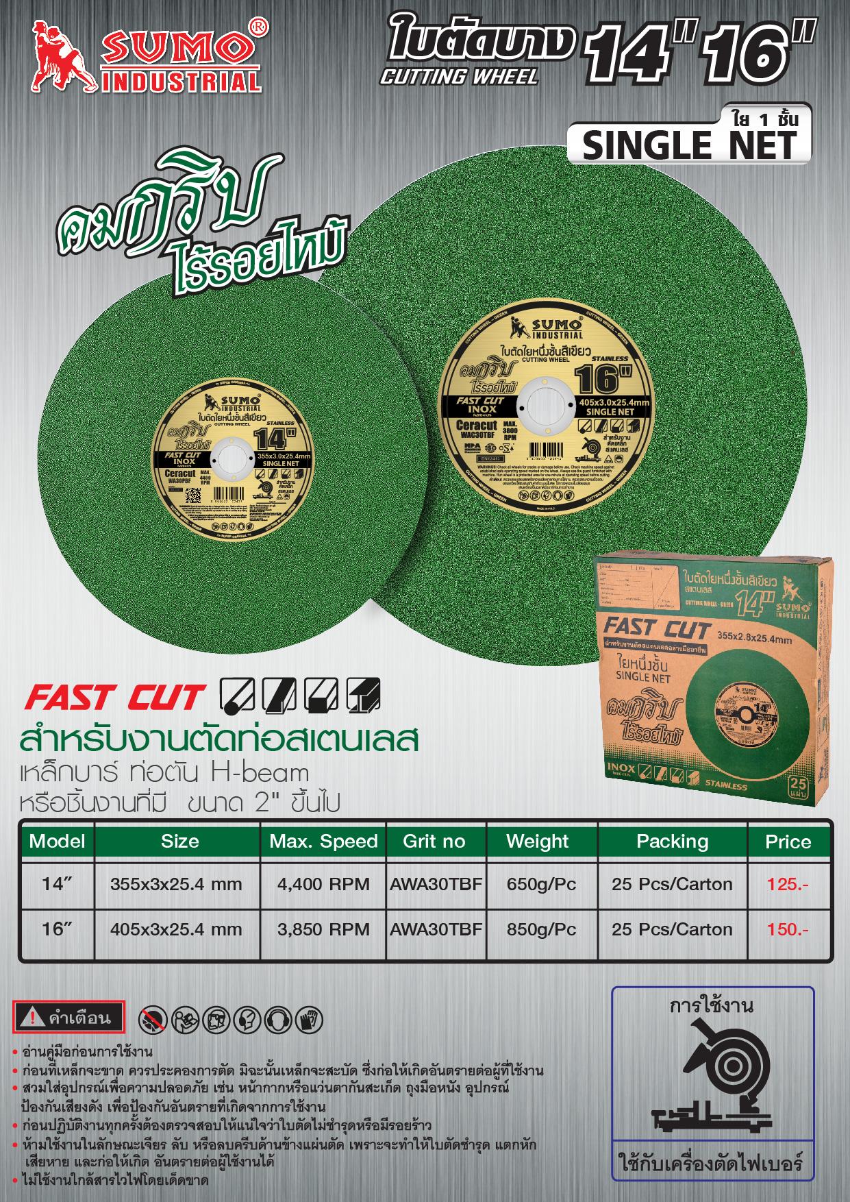 (32/36) ใบตัด สีเขียว ใย 1 ชั้น
