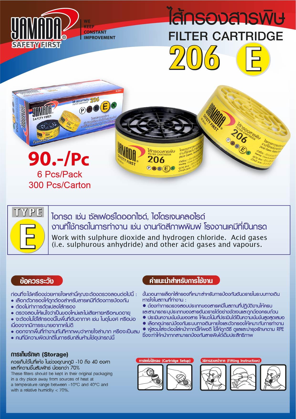 (72/268) ไส้กรองสารพิษ 206 TYPE E / Filter Cartridge