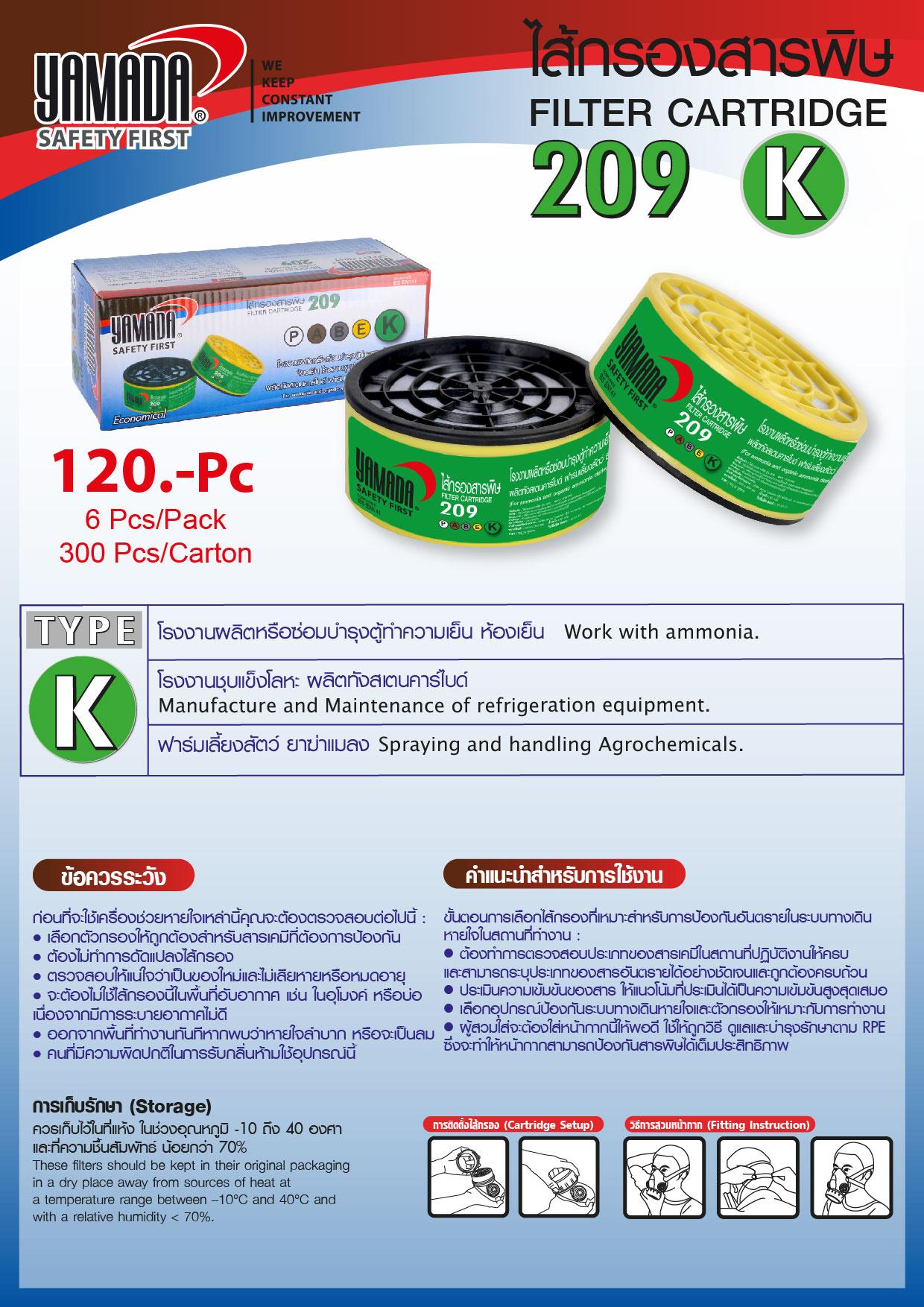 (86/268) ไส้กรองสารพิษ 209 TYPE K / Filter Cartridge